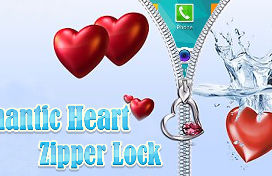 romantic heart zipper lock.