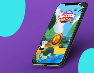 Raccoon Bubble shooter game top feature banner for android